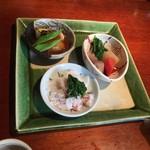 志蕎庵 江月 - 季節の三点盛り
