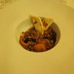 バジリコ -        甲イカとグリーンピースのトマト煮 リミニ風
