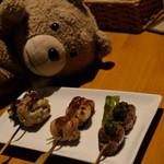 59181652 - ①まいたけの豚バラ巻トリュフ塩②モモ肉ハニーマスタードソース③フランス産仔羊のヒレ串ルッコラソース