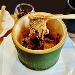 59200946 - 『本わらび餅』に、黒蜜と、たっぷりのきな粉をかけて箸で持ち上げると、びろ~~~~~んと伸びる~~!!(゚ ロ ゚;ノ)ノ