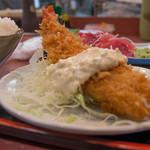 三洋食堂 - +300円で「DX」になるとでっかいエビふりゃーがついています。