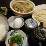 59219225 - 国産牛ホルモンつけ汁うどんと卵かけご飯のセット税込¥1010