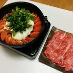 ビストロ藏の灯 - 松阪牛A5ランク、トマトすき焼き、赤ワインソースで初めての経験、〆のトマトトマト風味のパスタ風、うどんも美味しい❗