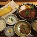 やよい軒 - 味噌かつ煮定食 + 納豆 + 玉子焼き