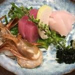 くずし割烹 天ぷら竹の庵 - 福井がす海老と三陸産天然鮮魚のお造り