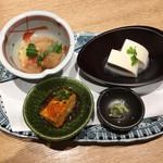 くずし割烹 天ぷら竹の庵 - 岩手濃厚豆乳の手作りよせ豆富・旬の先付2点