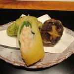 かま田 - ⑧牡蠣磯部揚げ、海老と大葉の奉書揚げ、椎茸里芋射込み揚げ