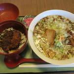 食堂きかく - サバだしらーめん&ミニソースかつ丼セット1,050円