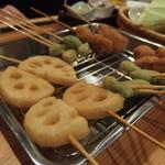 串揚げとハイボール酒場・ことり - レンコン・銀杏・豚肉