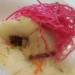 59262198 - 磯魚のフリット フランス産ムール貝とサフランのソース トマト ジェリエンヌ ド レギューム;アップ
