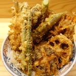 てんぷら石原 - 上野菜天丼+きす
