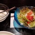 59267316 - サラダ&杏仁豆腐です。