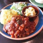 カフェ サバド - 鶏肉のチリビーンズプレート(ランチセット)2016.11.25