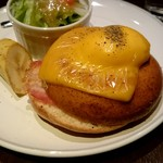 Cafe Miyama - モーニング『胚芽ベーグルサンド』¥650-