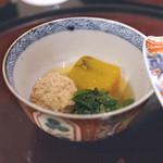日本料理 太月 - 合鴨、かぼちゃ、つるむらさき