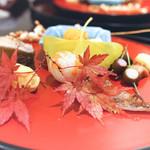 日本料理 太月 - 八寸:うにと生ゆば、大黒しめじ、むかご、メヒカリ,子持ち鮎、海老の芋鮨 栗