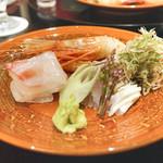 日本料理 太月 - 道南のボタンエビ、千葉竹岡産かます、明石産鯛
