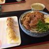滝音 - 料理写真:ぶっかけ肉うどん 熱  (小)420円  ちくわ天90円
