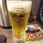 1ポンドのステーキハンバーグタケル - 2016年11月 生ビール 450円