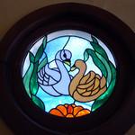 オーチャードグラス - 白鳥の円形ステンドグラス