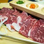 汐湯 凪の音 - 「伊万里牛しゃぶしゃぶ御膳」(1,750円)。キレイなお肉は伊万里牛♪