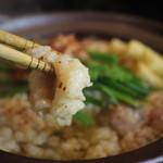 辛麺屋 桝元 - 黒辛鍋(自家製つくねと牛モツの醤油仕立て)