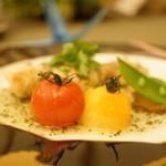 59317494 - 洋菜 (白身魚ソテー バジルソース 季節野菜と共に)