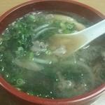 芦池更科 - 肉吸い(牛肉・玉ねぎ・ほうれん草&ネギ)