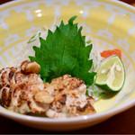 メリメロ亭 - 真鱈の白子、モンゴル岩塩焼き2コ