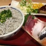 59323732 - 「しらす丼とデミグラスハンバーグとお刺身」定食 \1180