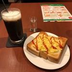 Cafe Sanbankan - アイスコーヒー モーニングセット タマゴトースト