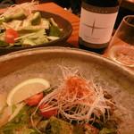 59327752 - サラダ、牡蠣のバター焼き、白ボトルワイン