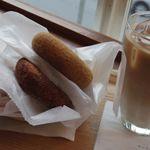 はらドーナッツ - 丹波黒豆きなこ 特別栽培シナモン あんバター アイスカフェオレ