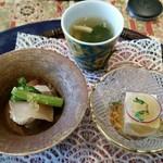 59366952 - 前菜 乾酪豆腐、赤貝の檸檬浸し、寒鰤柚香麹漬け