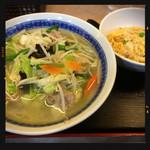中華食堂 萬里 - タンメンと半チャーハンのセット 800円 2016.11.28
