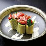 サラダホウレン草のロールサラダ