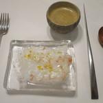 59396117 - ボタン海老のカルパッチョ オレンジとレモン、オマール海老のスープ