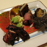 食彩なかしま - 鰻、ローストビーフ、サザエ、ロマネスクの盛り合せ