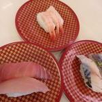 魚べい - 2016.11 まぐろ・びん長まぐろ 〆さば 甘えび