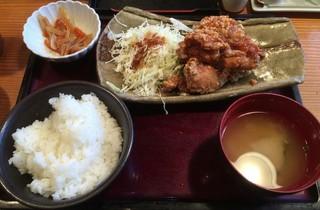 やまや 品川店 - 鶏の唐揚げ明太風味定食