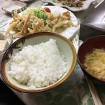 つちや食堂 - はまぐりのかき揚げ定食¥1500