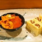 寿し処もり - 雲丹 & いくら ミニ丼、玉子