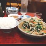 仙台や - ニラレバ炒め定食(950円)【平成28年11月28日撮影】