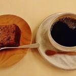59440694 - 『ケーキセット』(1100円)!! 『カカオのケーキ』と『ブレンドコーヒー』のセット~♪(^o^)丿