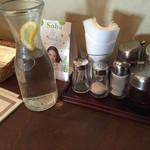 張 - 卓上の冷水と調味類