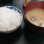 四季味宴席たく - ランチA ご飯 アサリ味噌汁