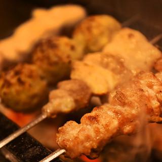 フランスゲランド塩を使用!群馬県産とり肉を使用した炭火串焼き