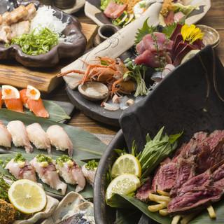 新鮮な魚と季節ごとの旬彩を使います