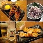59463677 - 月見つくね(2本)¥399/蒸鶏とモッツァレラチーズの赤しそ和え¥399/中生¥199/ジムビームハイボール¥199/むね肉と皮の抱き身1本¥99