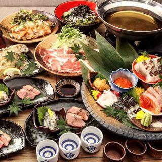 30種類の日本酒飲み放題付宴会コースなど各種コースございます